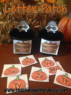 5 Fall Pumpkin Themed ABC Letter Discrimination and Identification Stations.  These are perfect for PreK or beginning kindergarten students.