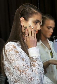 Backstage for the Manning Cartell show with hair by Alan White for ghd (image by beautydirectory)