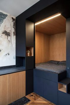 Three smart small apartment design solutions by a French studio with tailor made solutions for small spaces Small Apartment Bedrooms, Small Apartment Design, Small Space Design, Tiny Apartments, Tiny Spaces, Small Rooms, Bedroom Small, Parisian Apartment, Minimalist Apartment