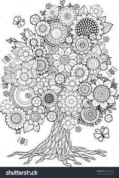Blossom Tree. Vector Elements. Coloring Book For Adult. Doodles For Meditation