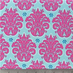 Fabric By The Yard 1 Yard designer pink tourquise damask 100% cotton sewing quilting clothing. $7.25, via Etsy.