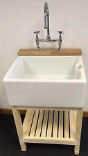 Belfast sink, stand with tap ledge, bridge chrome tap and waste. x x Belfast sink. Utility Sink Taps, Belfast Sink And Stand, Laundry Room Sink, White Ceramics, Chrome, Bathroom, Bridge, Kitchen Sinks, Studio