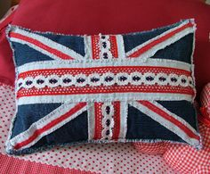 Denim and lace patchwork Union Jack cushion
