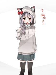 anime, anime girl, art, neko, аниме, арт, неко