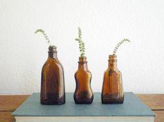 vintage brown bottles