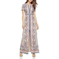 Bcbgmaxazria Print Burn-Out Maxi Dress ($385) ❤ liked on Polyvore featuring dresses, blue combo, blue pattern dress, lacy dress, print dresses, pink print dress and pattern dress
