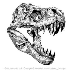 T rex drawing dinosaur skull tattoo