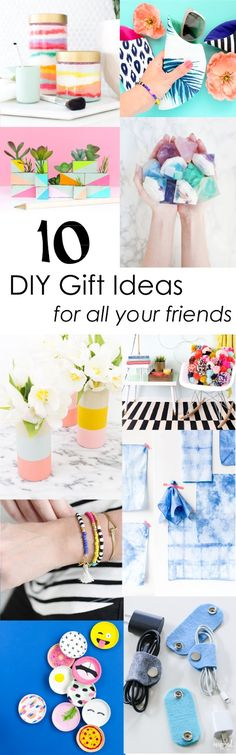 10 DIY Gift Ideas to make for all your friends and family - Easy crafts - Quick crafts - DIY gift guide - Colorful and fun DIY ideas for the holidays
