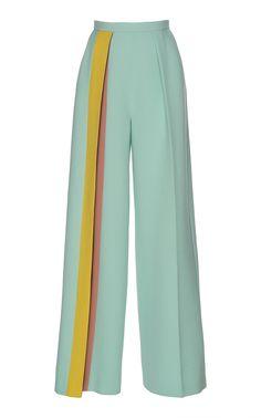 Delpozo Striped CrÊpe Pants In Green Fashion Details, Look Fashion, Fashion Pants, Hijab Fashion, Fashion Dresses, Womens Fashion, Fashion Design, Fashion Wear, Mode Outfits