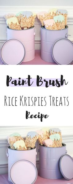 Easy DIY Paint Brush Rice Krispies Treats | Birthday Party Decor | Art Birthday Theme | Pastel Birthday Theme | Birthday Party Decor | Birthday Party Food | Birthday Desserts | Busy Little Izzy Blog Mini Desserts, Birthday Desserts, Birthday Party Decorations, Diabetic Desserts, Birthday Cakes, House Warming Party Decorations, Housewarming Party Themes, Pastel Party Decorations, Parties Decorations