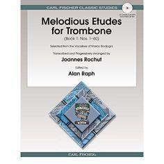 Carl Fischer Melodious Etudes for Trombone (Book/CD) - Joannes Rochut