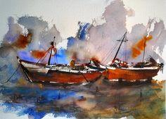 Fernando Pena - Acuarelas - Watercolors Watercolor Sea, Watercolour Painting, Andalusia, Romanticism, Sweet Memories, Art Lessons, Spain, Cityscapes, Yachts