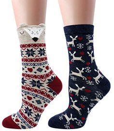 LITTONE Women's Cozy Cotton Cartoon Crew Novelty Socks 2 Pairs Women Socks, Funny Socks, Novelty Socks, Cotton Socks, Crew Socks, Merry Christmas, Cartoon, Amazon, Casual
