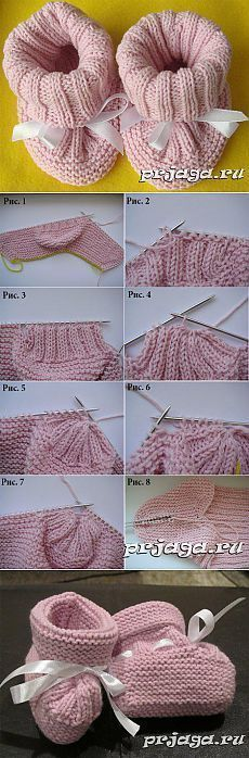 Interesting and very light booties with knitting needles with master class