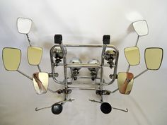 Vespa Small Frame Chrome Front Rack with Eight Stadium Mirrors and 4 Lights Mod | eBay