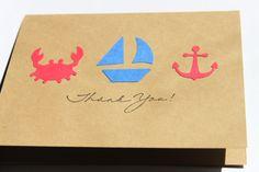 Nautical Thank You Cards Crab Sail boat Anchor by RoyalRegards, $12.00