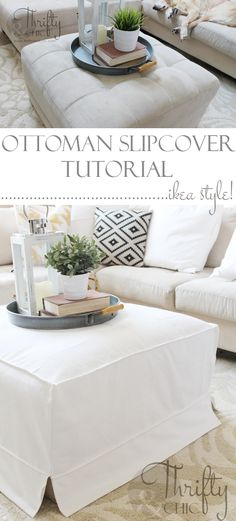 How to make a slipcover for an ottoman or coffee table. Great way to get that cute Ikea slipcover look! #diyhomedecor
