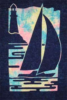 Sailboat & Lighthouse 2-fabric applique quilt pattern