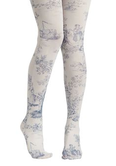 A Tale Of New Tights by Look From London - Sheer, White, Blue, Print, French / Victorian