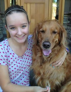 Brooke Martin, 13, was inspired by her dog Kayla (both shown here) to invent iCUPpooch, a device that allows video chat and treat dispensing remotely to keep separation anxiety at bay.