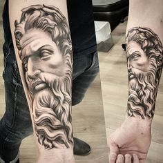 Discover the electrifying wrath of the ancient God Zeus with these top 79 best Zeus tattoo designs. Get a thunderbolt of ideas and inspiration. Zeus Tattoo, Poseidon Tattoo, Cool Chest Tattoos, Chest Tattoos For Women, Wrist Tattoos For Guys, Thigh Piece Tattoos, Forearm Sleeve Tattoos, Hannya Maske, Gott Tattoos