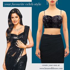 Sparkly black sequins on a spaghetti strap blouse. Simply sizzling! The ever so pretty Katrina Kaif shows us how it's done customise your version at houseofblouse.com #houseofblousedotcom #blouse #spaghetti #black #musthave #celebstyle #katrinakaif