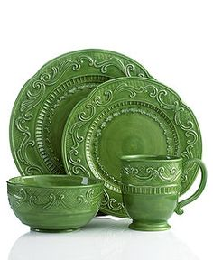 Fitz and Floyd Dinnerware, Ricamo Green 4 Piece Place Setting - Casual Dinnerware - Dining & Entertaining - Macy's Green Dinnerware, Melamine Dinnerware Sets, Casual Dinnerware, Green Plates, Plates And Bowls, Green Dinner Sets, Green Kitchen, China Patterns, Place Settings