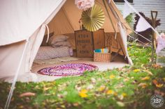 Our Honeymoon Suite Bell Tent available for hire for #festival inspired #weddings #wedfest. Dressed completely with #vintage sourced furniture | www.victorialilyevents.co.uk |   #belltents #glamping  Photo Credit www.ryanbaldwinphotography.com