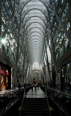 The Allen Lambert Galleria, sometimes described as the crystal cathedral of commerce. Toronto, Canada  http://toronto.awesome-canada.com/ #toronto #canada