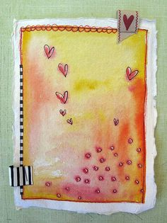 Watercolor hearts...love the tags stapled to the edges idea!