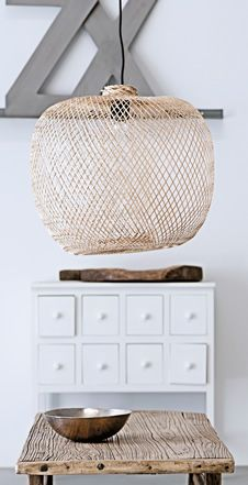 €250.38   Stylish large and light open weave lampshade made from bamboo. 40W bulb (not included). H30cm Dia.42cm