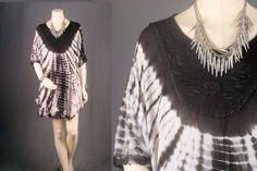 Batik Dress Tunic Caftan Batwing Tie Dye Bohemian by sparrowlyn, $74.00