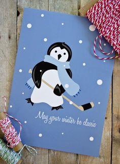 Winter Classic Hockey Penguin Holiday Card on Etsy.
