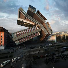 A hotel in Munich is stretched, twisted, distorted and exploded in this series of 88 manipulated photographs by Spanish photographer Victor Enrich