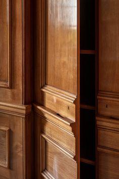 Panelled Study | New Build | Berkshire | Artichoke Double Sliding Doors, Solid Doors, Wood Panel Walls, Wood Paneling, Specialist Paint, Oak Panels, Study Design, Georgian Homes