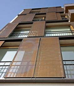 Hunter Douglas Sliding Shutters blend style and functionality - inside and out. By providing building exteriors with a futuristic look as well as offering optimal solar effectiveness for maximum internal comfort, Sliding Shutters offer a total buildin Detail Architecture, Industrial Architecture, Modern Architecture, Building Skin, Building Facade, Building Design, Hunter Douglas, Facade Design, Exterior Design