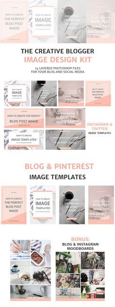 Create eye-catching blog post and social media graphics with these social media templates. These are all fully editable Adobe Photoshop files.