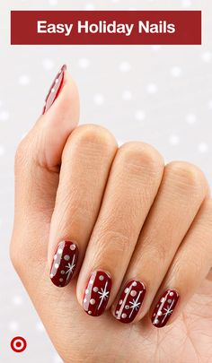 Get your Christmas nails on with essie& holiday nail polish kit. Design your own or try this easy mani idea for a festive look. in 2019 Xmas Nails, Holiday Nails, Christmas Nails, Diy Nails, Winter Nail Designs, Christmas Nail Designs, Nail Art Designs, Nails Design, Christmas Design