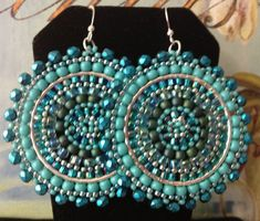 Aquamarine and Turquoise Seed Beaded Earrings  Big by WorkofHeart