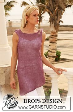 "Ravelry: 111-22 Knitted tunic with curved edge in ""Lin"" pattern by DROPS design"