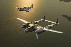 P-51 Mustang and a P-38 Lightning