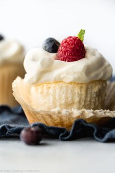 This easy recipe for angel food cupcakes is the perfect light dessert! Made from just a few ingredients, this angel food cake is light as air and topped with fluffy whipped cream. Recipe on sallysbakingaddic. Cupcake Recipes, Baking Recipes, Dessert Recipes, Cupcake Flavors, Party Recipes, Pie Recipes, Summer Recipes, Sweet Recipes, Recipies