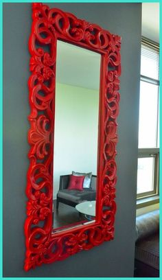 Red mirror, black leather couch - I totally want this is my colonial-like living room! I have this mirror but white. I prefer red! Bedroom Red, Mirror Bedroom, Master Bedrooms, Trendy Bedroom, Bedroom Colors, Red Mirror, White Mirror, Wall Mirror, Red Rooms