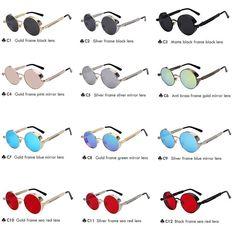 d73cb47a527 Round Metal Sunglasses Steampunk Men Women Fashion Glasses Brand Designer  Retro Vintage Sunglasses UV400