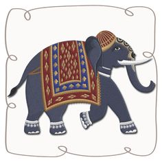 Bali Elephant 5 Machine Embroidery Design Pattern-INSTANT DOWNLOAD
