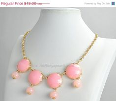 Pink Statement Necklace Pink Bubble Necklace 4 Beads by GemPearls, $6.50