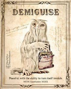 Demiguise Fantastic Beasts Book Page Digital Painting Print Posters Harry Potter, Harry Potter Journal, Harry Potter Printables, Harry Potter Spells, Theme Harry Potter, Harry Potter Room, Harry Potter Tumblr, Harry Potter Pictures, Harry Potter Aesthetic