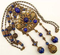 Vintage Art Nouveau Czech Bohemian Long Pendant Necklace Blue Glass and Filigree | eBay