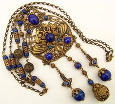 Vintage Art Nouveau Czech Bohemian Long Pendant Necklace Blue Glass and Filigree | eBay