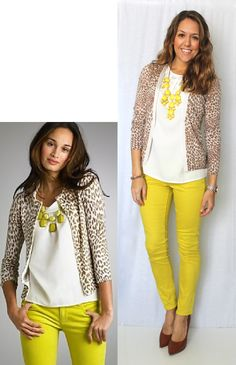 Like this combo yellow + leopard print via J's Everyday Fashion